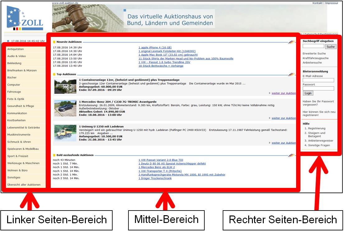 Zoll-Auktion - Startseite